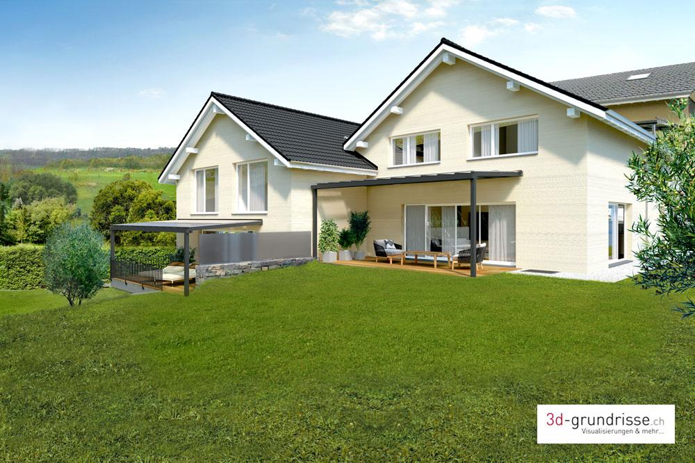 aussenvisualisierung einfamilienh user 3d 3d. Black Bedroom Furniture Sets. Home Design Ideas