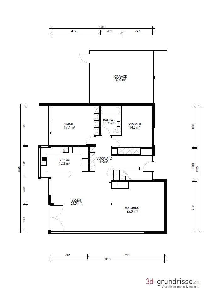 2d grundriss mit masseinheiten 3d 3d. Black Bedroom Furniture Sets. Home Design Ideas