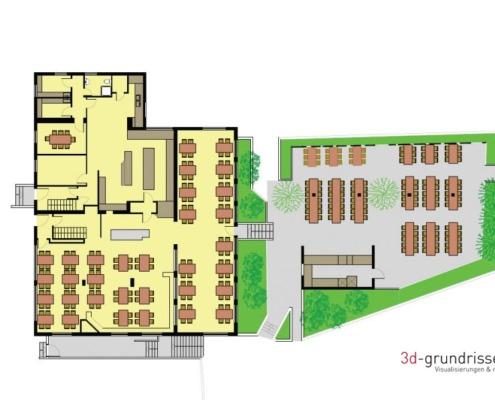 Farbiger Grundriss Erdgeschoss